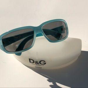 Baby blue Dolce and Gabbana rhinestone sunglasses